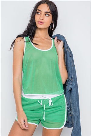 Green Contrast Trim Net Recerback Tank Top