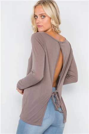 Cocoa Sheer Open Back Tie Long Sleeve Top
