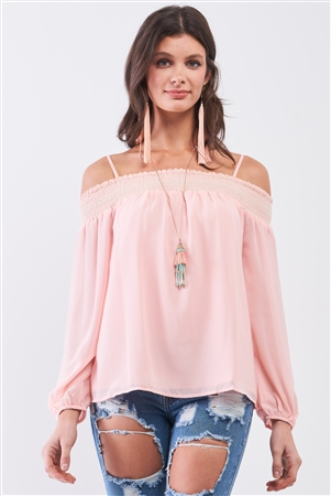 Plus Size Coral Off-The-Shoulder Flounce Top