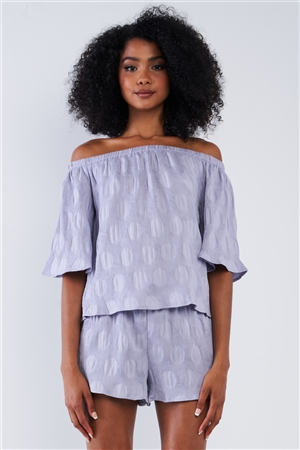 Solid Lavender Bluebell Sleeve Off-The-Shoulder Circle Pattern Loose Fit Pleated Top
