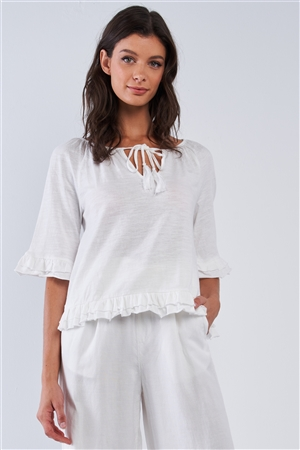 Solid White Cotton Loose Fit Mid Sleeve Ruffle Hem Country Style Peasant Top /1-2-2-1