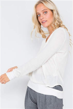 Ivory Cold Shoulder Cut Out Semi-Sheer Sweater