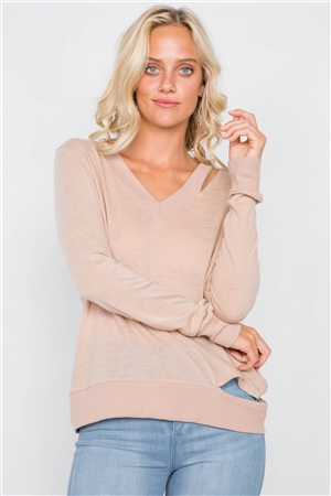 Tan Cold Shoulder Cut Out Semi-Sheer Sweater /3-2-1