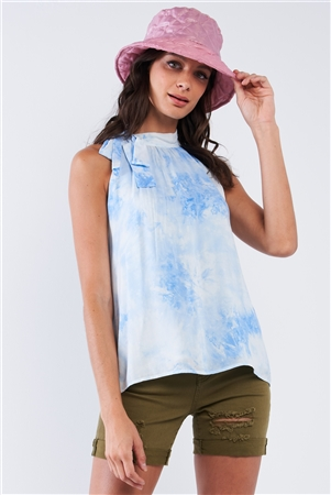 Sky Blue Tie Dye Side Bow Tie Neckline Long Sleeveless Summer Top