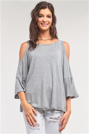 Grey Cut-Out Shoulder Midi Sleeve Relaxed Fit Crew Neck Top /1-2-2-1