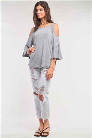 Grey Cut-Out Shoulder Midi Sleeve Relaxed Fit Crew Neck Top /1-3-2-1