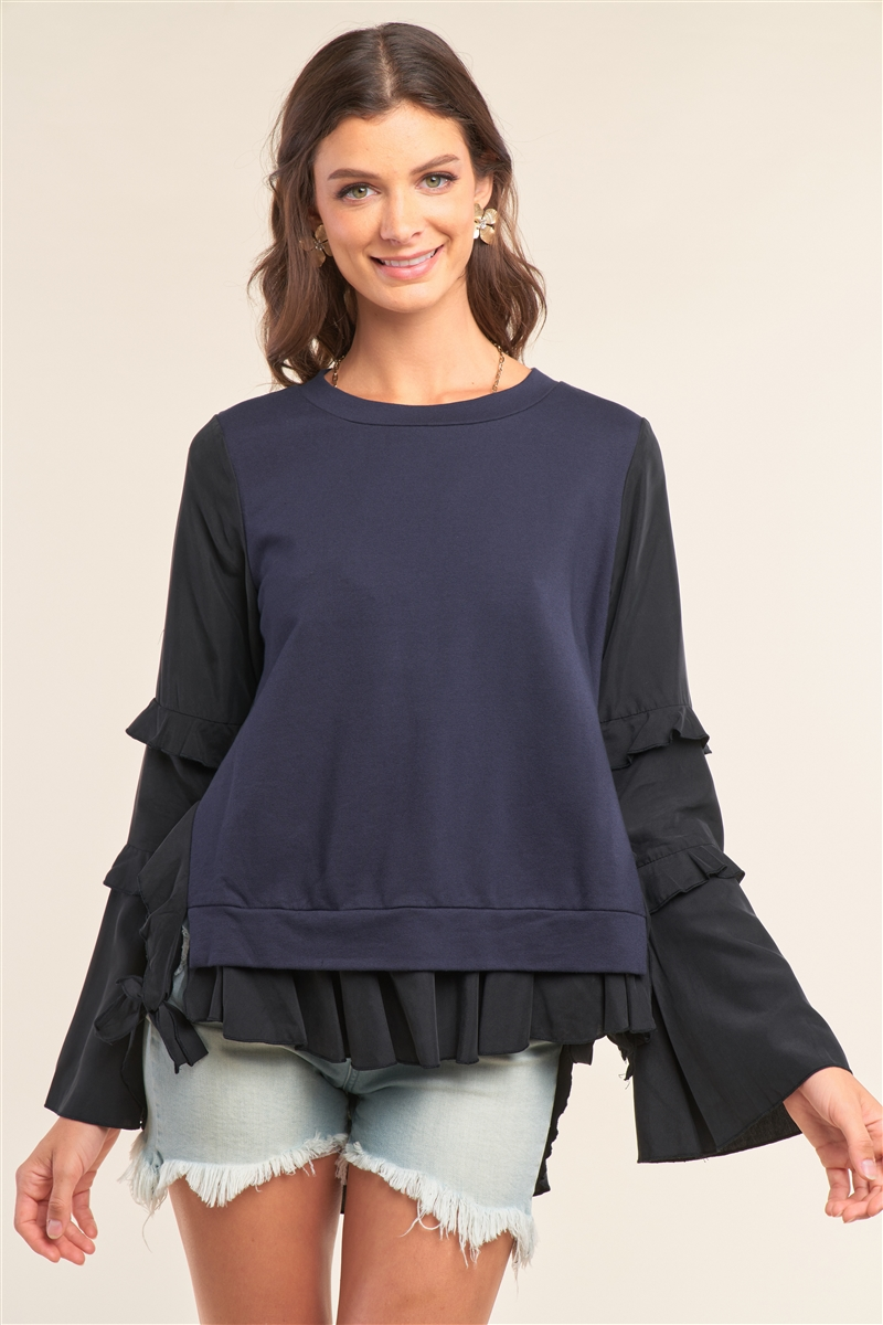 Black&Blue Asymmetrical Mixed Crew Neck Long Sleeve Ruffle Trim Self-Tie Detail Flare Bottom Top /2-2-2