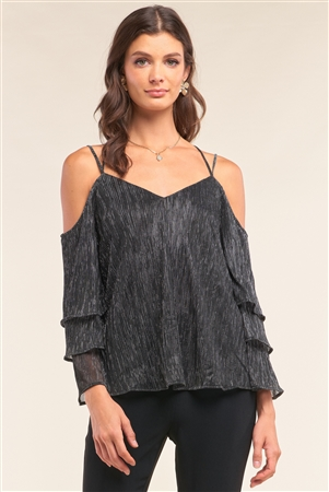 Silver Lining Shimmer Mesh Off-The-Shoulder Long Layered Sleeve Relaxed Fit V-Neck Crisscross Back Top