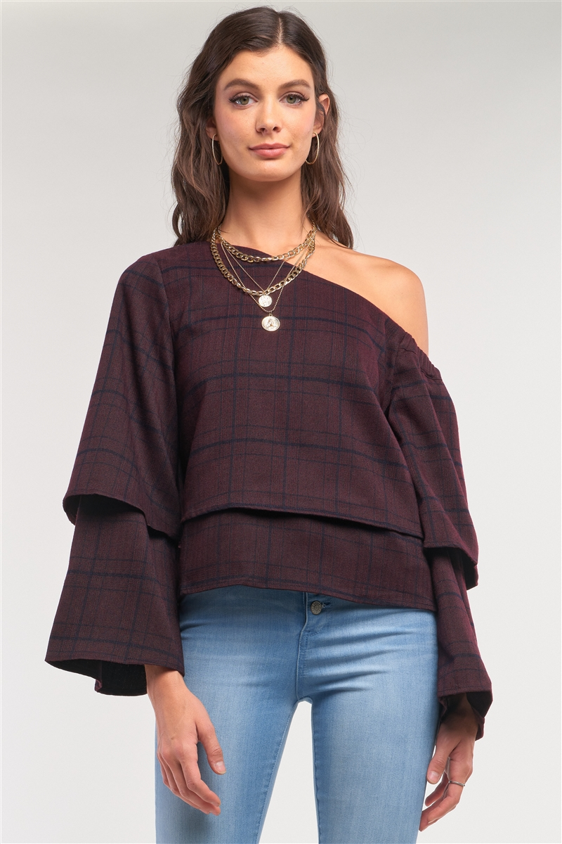 Plum Navy Plaid One-Shoulder Long Sleeve Loose Fit Layered Top /2-2-2