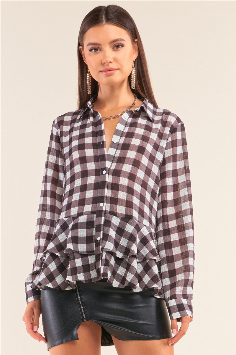 Back To School Black&White Checkered Crinkle Mesh Long Sleeve Collared Button Down Flare Hem Shirt /1-2-2-1