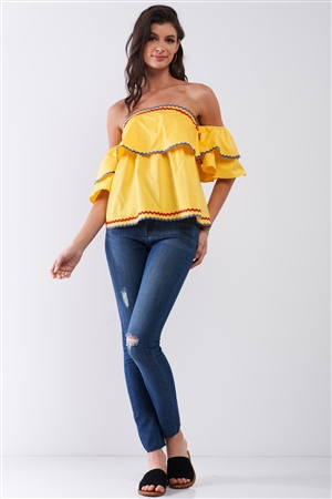 Yellow Pop Off-The-shoulder Ruffle Trim Puff Sleeve Detail Top /2-1-3