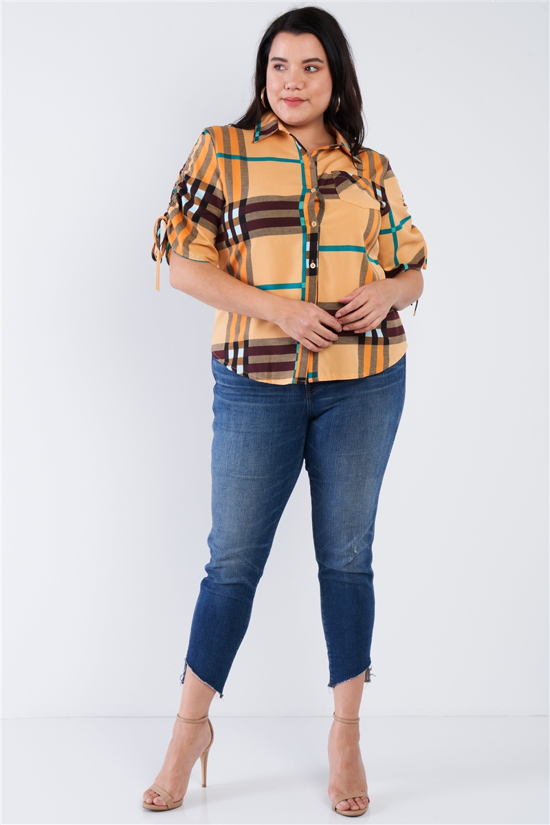 Plus Size Mustard Yellow Plaid Multi Stripe Cinched Sleeve Button Down Top