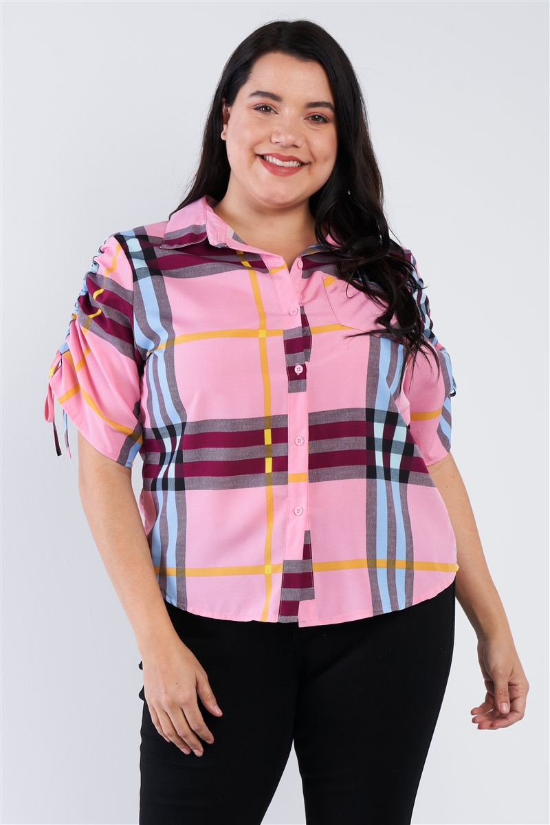Plus Size Pink Plaid Multi Stripe Cinched Sleeve Button Down Top