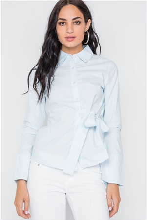 Light Blue Button Down Site Tie Top