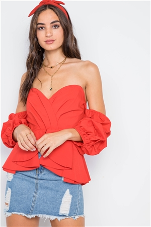 Red Off-The-Shoulder Bell Sleeve CroppedTop