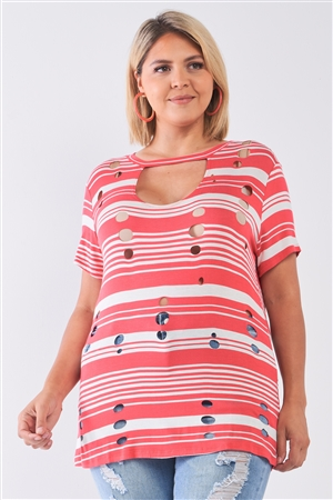 Junior Plus Coral Striped and Distressed Cut-Out Top /2-2-2