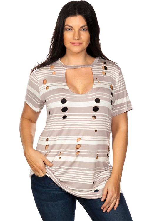 Khaki Striped and Distressed Cut-Out Plus Size Top