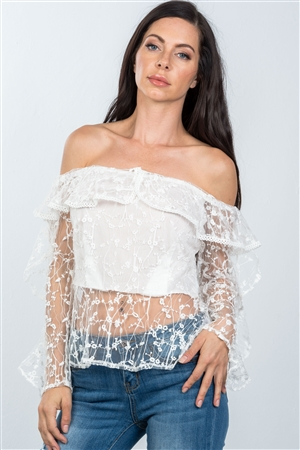 White Sheer Floral Textured Off The Shoulder Top
