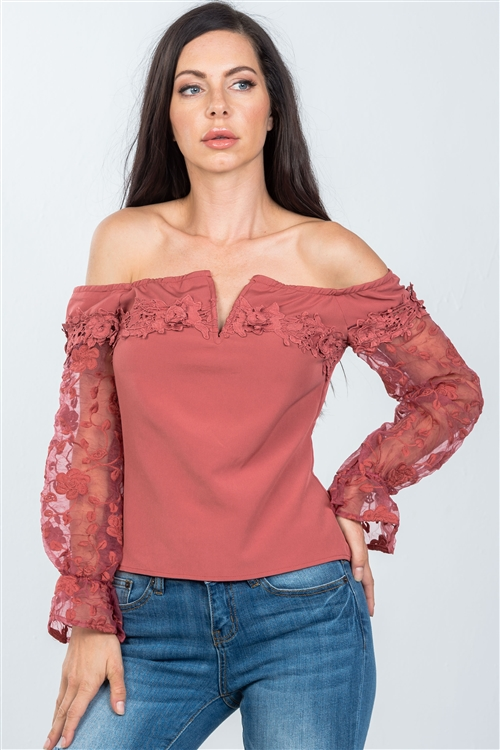 Mauve V-Wire Off The Shoulder Floral Applique Top
