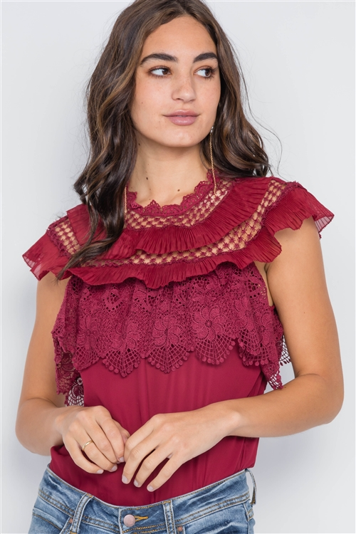 Burgundy Crochet Trim Sleeveless Top