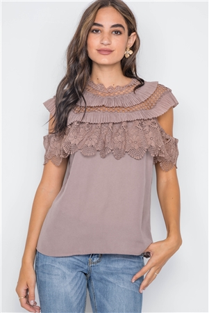 Mocha Crochet Trim Sleeveless Top