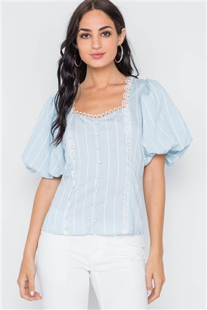 Blue Puff Sleeves Stripe Crochet Trim Top