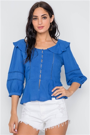 Blue Crochet Trim Button Down Boho Top