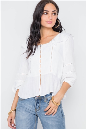 White Crochet Trim Button Down Boho Top