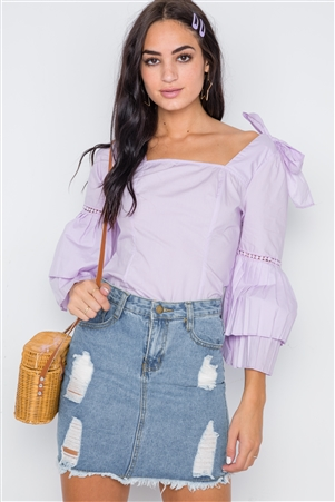 Lilac Square Neck Accordion Pleat Sleeves Top