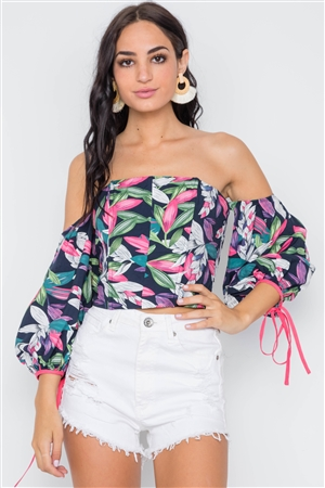 Navy Pink Off-The-Shoulder Puff Sleeves Top