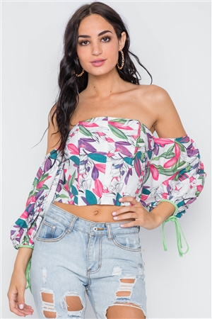 White Green Off-The-Shoulder Puff Sleeves Top