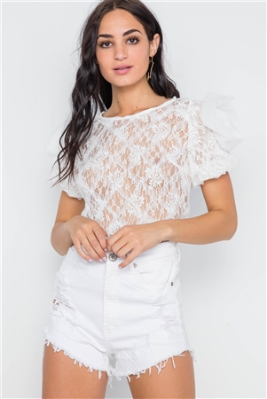 White Floral Lace Mash Sleeves Sheer Top