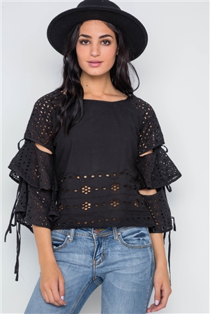 Black Floral Embroidery Cut Out Flounce Sleeve Top