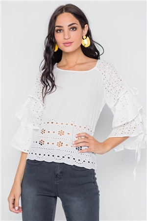 White Floral Embroidery Cut Out Flounce Sleeve Top