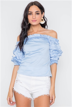 Blue Puff Sleeve Off-The-Shoulder Top
