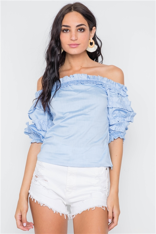 Blue Puff Sleeve Off-The-Shoulder Top /2-2-2