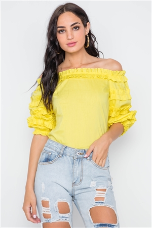 Yellow Puff Sleeve Off-The-Shoulder Top
