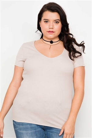 Plus Size Taupe Cut Out Short Sleeve Knit Top