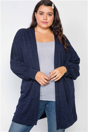 Plus Size Navy Open Front Marled Cardigan