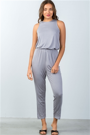 Silver Sleeveless Back Cut Out Jumpsuit