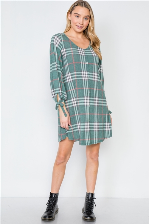 Plus Size Green Plaid Casual Knit Button-Front Dress