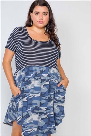Plus Size Combo Camo Blue Short Sleeve Knit Dress