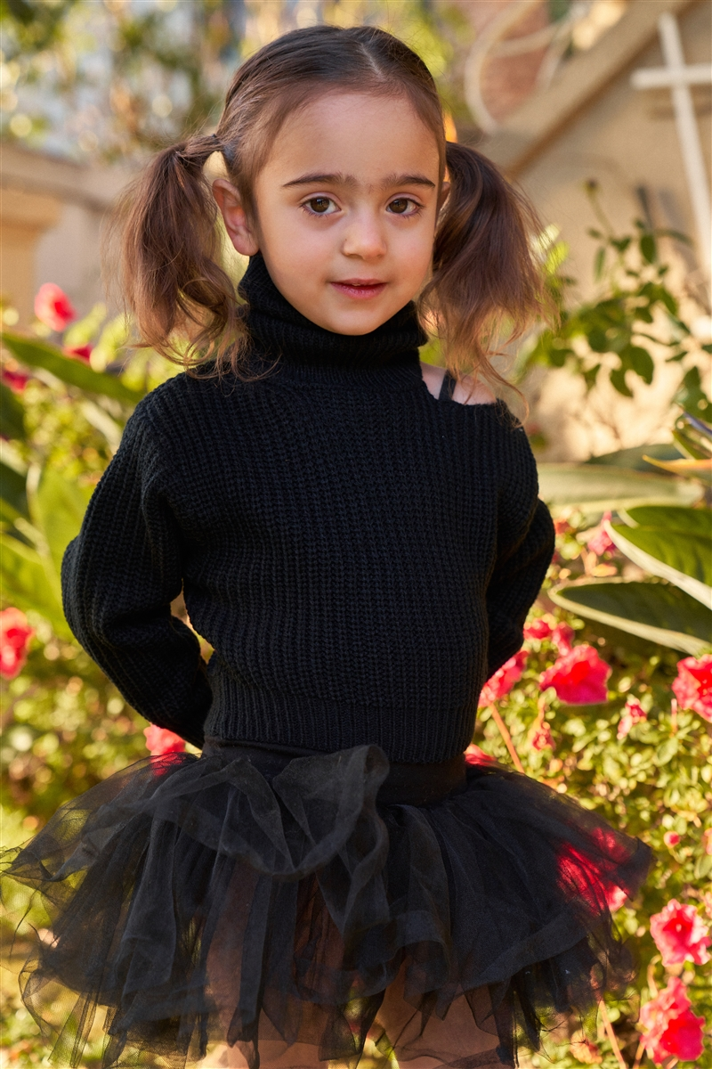 Girls Black Ribbed Knit Cut-Out Shoulder Detail Long Balloon-Y Sleeve Turtleneck Sweater /1-2-2-1