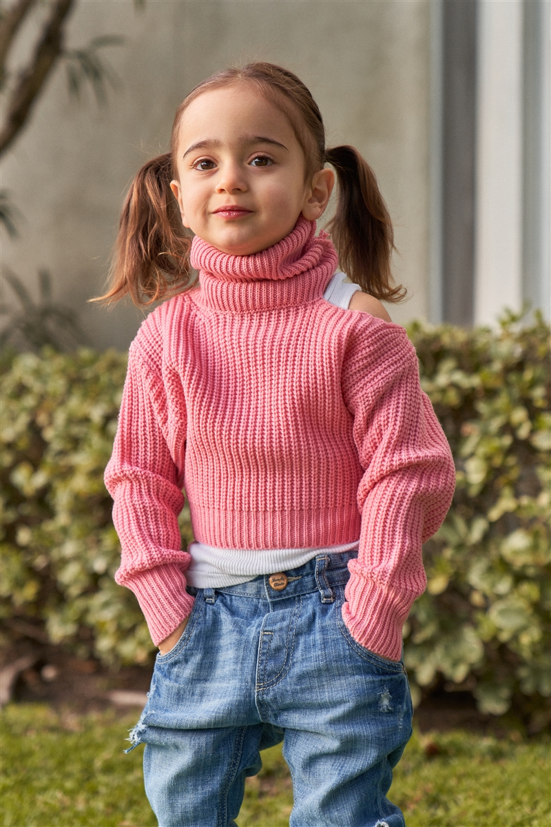 Girls Blush Pink Ribbed Knit Cut-Out Shoulder Detail Long Balloon-Y Sleeve Turtleneck Sweater