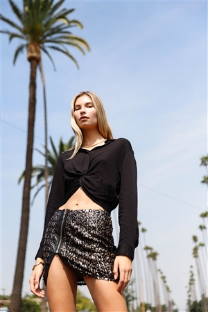 Black Long Sleeve Front Button Down Twist Detail Elasticated Back Shirt