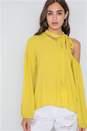 Bright Mustard Open Shoulder Front-Tie Top