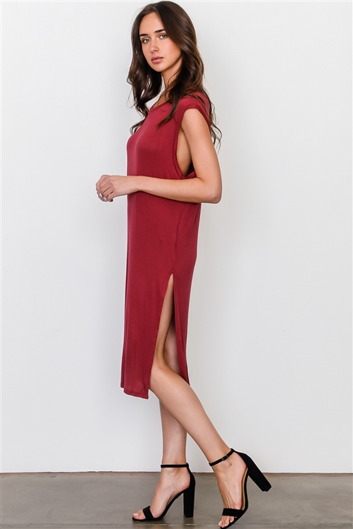 Burgundy Side Split Long Tunic Top