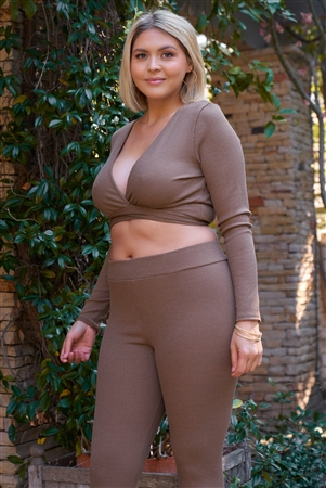 Junior Plus Mocha Plunge Neck Long Sleeve Self-Tie Back Or Front Waist Top & High-Waisted Skinny Pants Set /2-2-2