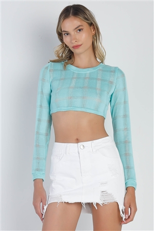 Tiffany Blue Cropped Knit Long Sleeve Sweater /2-2-2