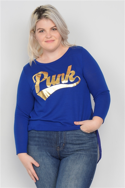 "Blue Gold ""PUNK"" Graphic Plus Size Long Sleeves Sheer Back Top"